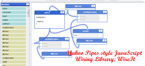 Yahoo Pipes style JavaScript Wiring Library