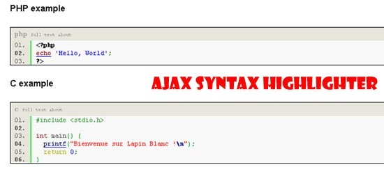 Ajax-Syntax-Highlighter