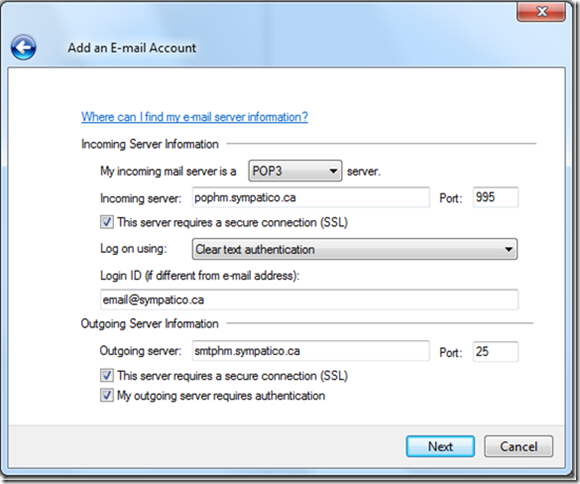 how to find pop3 server information
