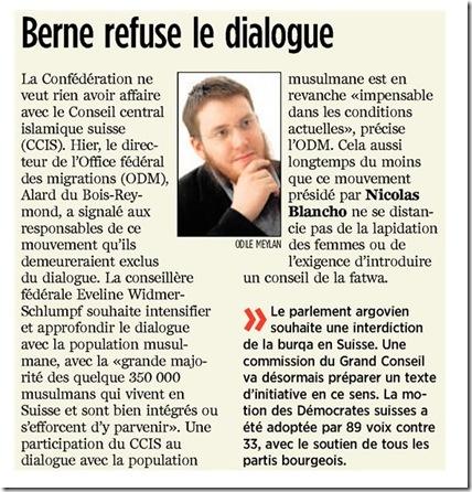 Berne refuse le dialogue