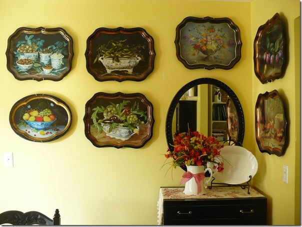 hanging trays on a wall
