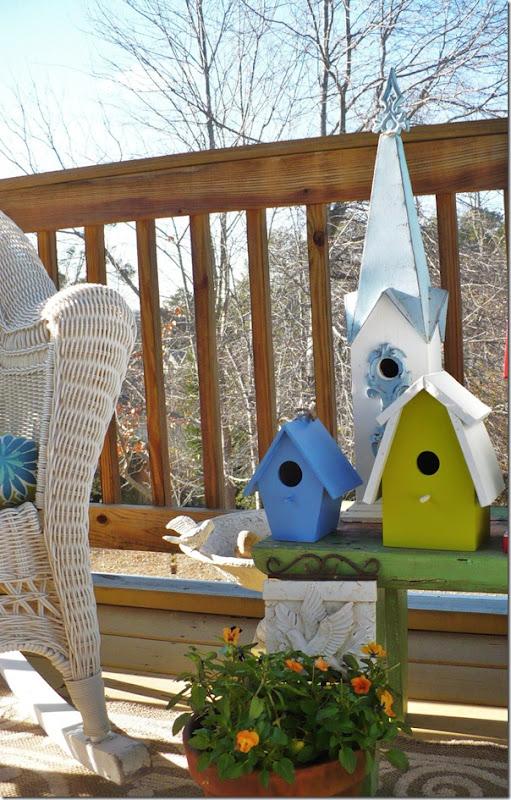 birdhouses on a deck