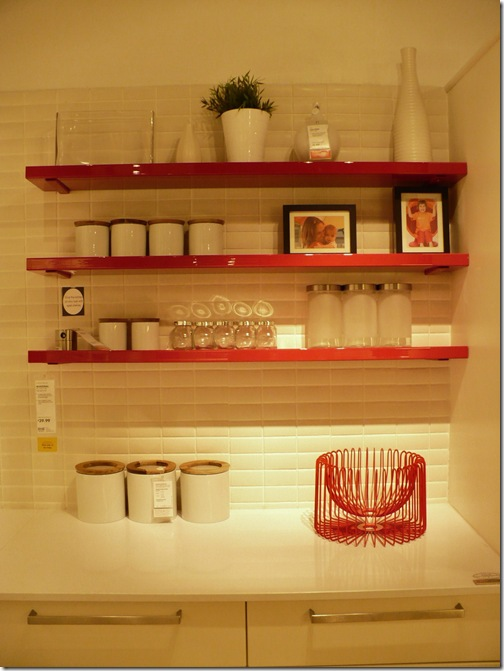 red shelves from IKEA