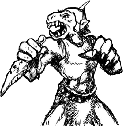 [The orc from the title page of Orx. Bared teeth, vaguey clawy hands, horn or spikey thing sticking up out of his head, stone knife, fur loincloth... Generally fearsome, unless you just how badly screwed he is.]