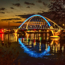 Lowery bridge by Kirk Schleife - Buildings & Architecture Bridges & Suspended Structures ( waterscape, blue, sunset, reflections, bridge )