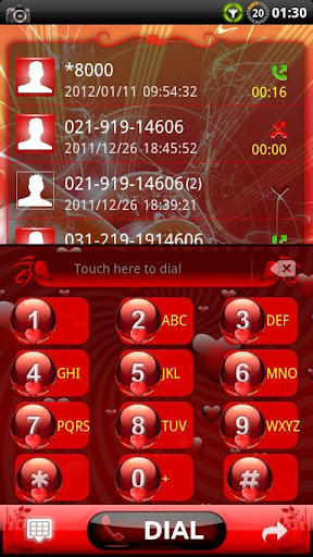 GOContacts theme Red Valentine