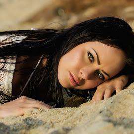 Beautiful Beach Babe by Terrence Credlin - People Portraits of Women