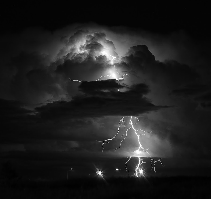 Black & White Bolt by Laurie Ramsey - Black & White Landscapes ( thunderstorm, black and white, white, lightningstorm, storm, landscape, photography, and, sky, weather, storms, landscapes, black )