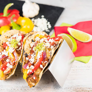 Chicken Fajita Tacos with Cotija Cheese
