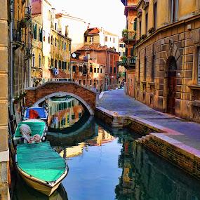 Venetian reflections III by Stefano Landenna - City,  Street & Park  Vistas ( reflection, venice, bridge, boat, italy )