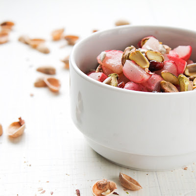 Roasted Radish, Dried Fruit, and Pistachio Salad