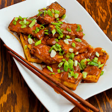Spicy Vegan Peanut Butter Tofu with Sriracha