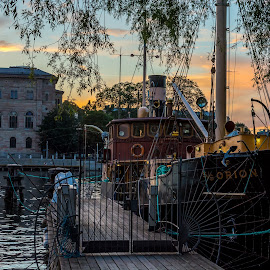 Boat by the dock by Stefan Sarbu - City,  Street & Park  Historic Districts ( stockholm, boat, canal, historic, dock )