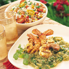 Chili-Glazed Shrimp with Tomatillo-Cilantro Sauce