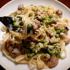 Tagliatelle with Sausage, Peas & Mint