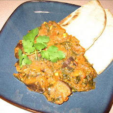 Eggplant (Aubergine) -Spinach Curry