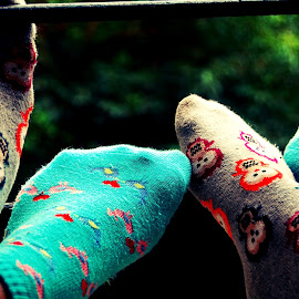 by Prerna G - Artistic Objects Clothing & Accessories ( quirky, cartoon, colorful, socks, legs, cute,  )