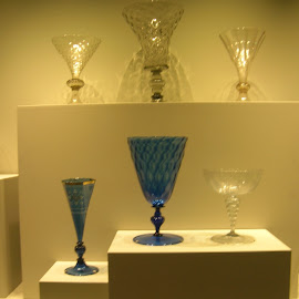 Colors and shadow by Linda McCormick - Artistic Objects Antiques ( blue, california, glass, museum, shadows )