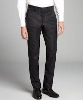 Bottega Veneta black cotton blend straight leg flat front pants