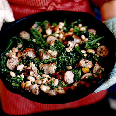 Sweet Sausage and Broccoli Rabe with Cranberry Beans