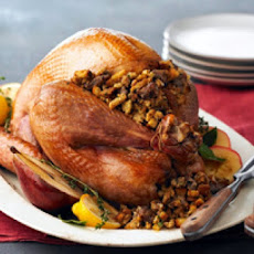 Roasted Turkey with Artichoke-Sausage Stuffing