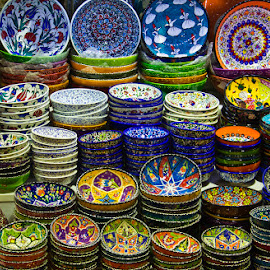 Colorful Dishes of Istanbul... by Avishek Patra - Artistic Objects Cups, Plates & Utensils ( dish, bowl, plates, decorated dishes, colorful, ceramic, turkey, istanbul, china bowl, grand bazaar, utensils )