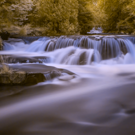 Bond Falls by Andy Taber - Landscapes Waterscapes ( water, stream, waterfall, forest, river,  )