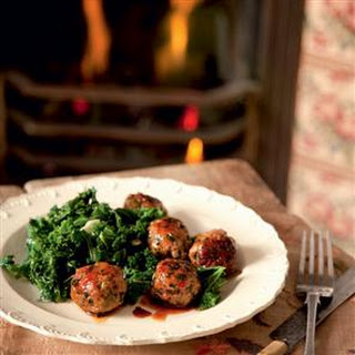 Sticky Pork Meatballs With Curly Kale And Garlic