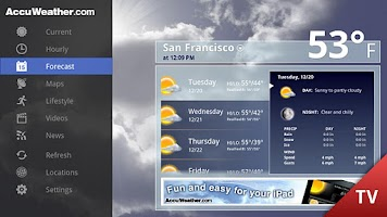 Screenshot of AccuWeather for Google TV