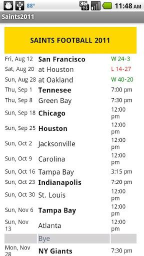 Saints Football Schedule