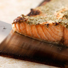 Cedar-Planked Salmon with Herbed Yogurt Sauce Recipe