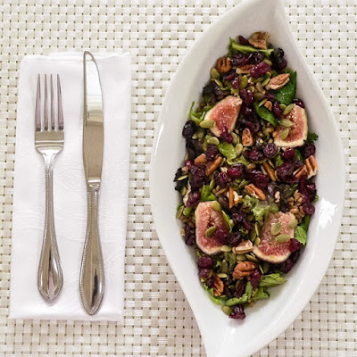 Mixed Green Farro Salad and Fresh Figs