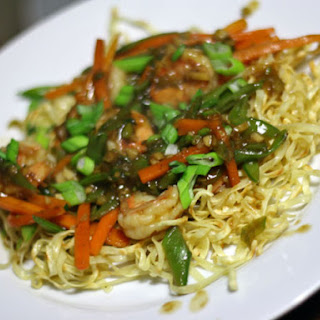 Pan-Fried Noodles with Shrimp, Snap Pea, and Carrot
