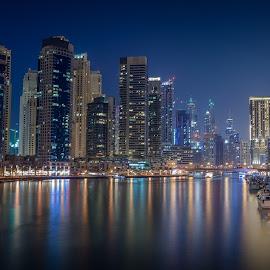 Dubai Marina by Rajesh Loganathan - City,  Street & Park  Skylines ( water, skyline, dubai, creek, waterways, night, marina )