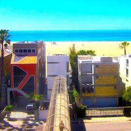 Santa Monica House Facades by Ronnie Caplan - Buildings & Architecture Homes ( sand, houses, santa monica, street, pacific, ocean, windows, architecture, beach, shadows, facades, colourful, sky, details, trees, bridge )