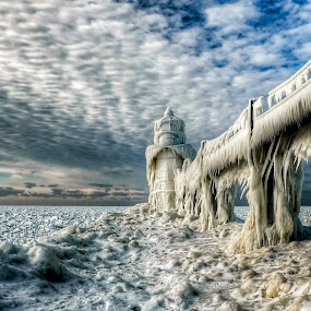 Walking out on the North Pier in Saint Joseph Michigan by Thomas Nighswander - Landscapes Weather