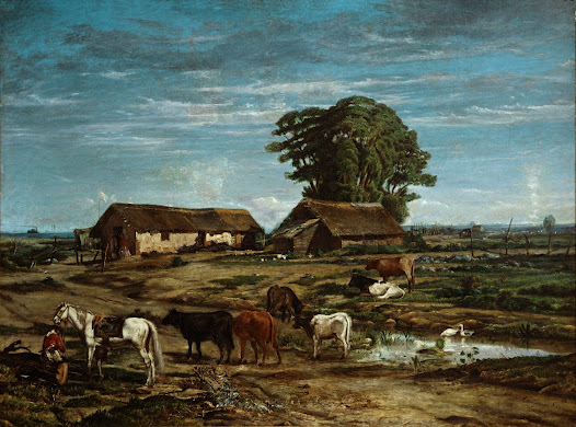 <i>Quirno's Dairy Farm</i> is a typical 19th-century painting of a rural theme. The oil painting shows us a group of animals in the foreground –some cows grazing– and a peasant with his horse, taking a break.