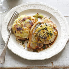 Pork Chops With Bubble 'n' Leek Cakes