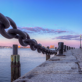 Boston Harborwalk Sunset by Jeff Parkes - City,  Street & Park  Street Scenes ( urban, harbor, photomatix, boston, hdr, chain, sunset, massachusetts, fan pier, nik )