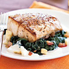 Roasted Black Bass with Apple Cider-Kale Sauce