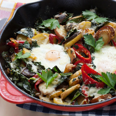 Heirloom Potato & Kale Hash with Farm Eggs & Aged Cheddar Cheese