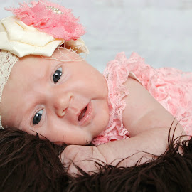 Pink & Brown by Danielle Atchison - Babies & Children Babies ( blye, girl, headband, fur, baby )