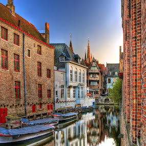 Twilight in Bruges by Peter Kennett - City,  Street & Park  Neighborhoods ( water, canals, boats, brugges, twilight, bruges, belgium )