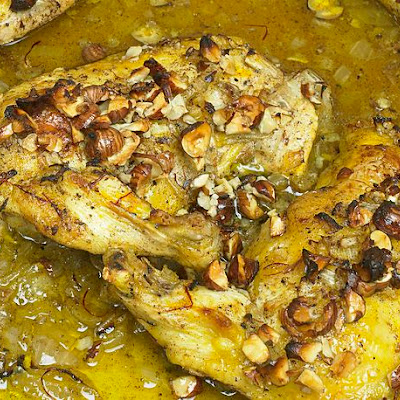 Roast Chicken With Saffron, Hazelnuts, and Honey From 'Ottolenghi'