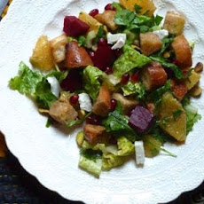 Winter Panzanella with Orange, Roasted Beets and Pomegranate Seeds