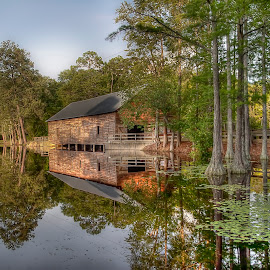Millhouse Reflection by Alicia Pastiran - Landscapes Travel ( water, state parks, george l. smith, reflections, georgia, landscapes, millhouses )