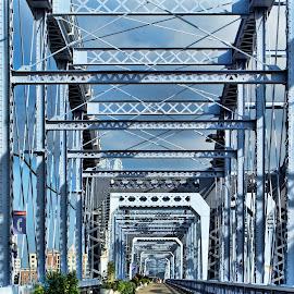 Bridge across the Ohio by Becky Kempf - Buildings & Architecture Bridges & Suspended Structures ( ohio river, cincinnati, bridge, purple people bridge, Urban, City, Lifestyle,  )