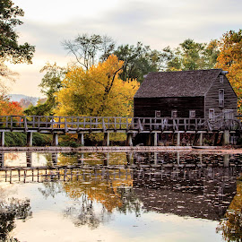 Phillipsburg Manor, Sleepy Hollow.  by Jen Pezzotti - Buildings & Architecture Public & Historical ( reflection, barn, water], sleepy hollow, phillipsburg manor )