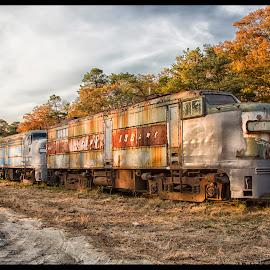 End of the Line by Deborah Felmey - Transportation Trains ( train, landscape, rust, trains, decay, abandoned,  )