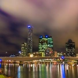 Brisbane by Simon Tidd - City,  Street & Park  Skylines ( southbank, brisbane, night, river, city )